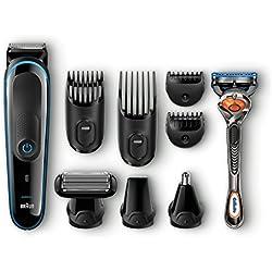 Braun MGK3080 - Set de afeitado multifunción, recortadora de precisión para estilismo de barba y cabello 9 en 1 con maquinilla Gillette Fusion Proglide, cortapelos de color negro y azul