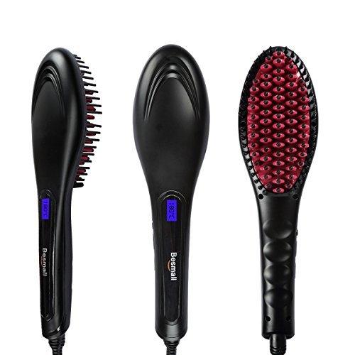 Besmall Digitale Anti Static Elektrische Haarbürste Bürstenkissen Warmluftbürste(Schwarz)