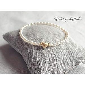 Armband mit Perlen und Herz Sterlingsilber vergoldet