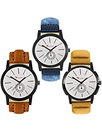 Talgo 2017 New Collection Foxter (combo Of 3) White Round Shapped Dial Leather Strap Fashion Wrist Watch For Boys... - B0763V6KPY