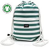 Santa Perago - Turnbeutel grün weiß gestreift aus 100% Bio Baumwolle GOTS - mit dicker Kordel -...