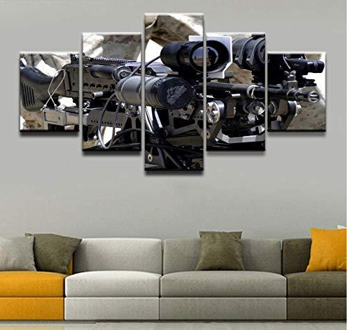 xutongrui Wandkunst Home Dekorative Wohnzimmer Rahmen Leinwand Bilder 5 Stücke Machine Gun Gemälde HD Drucke Modulare Art Poster -