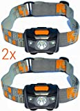 KingMungo 2 Stück Stirnlampe LED Wasserdicht + 3X AAA Batterien! 2 Pack Super Bright Headlamp Weiß + Rot LED - 160 Lumens - Comfortable Headband - Sports Running, Cycling, Arbeitslicht KMHL003