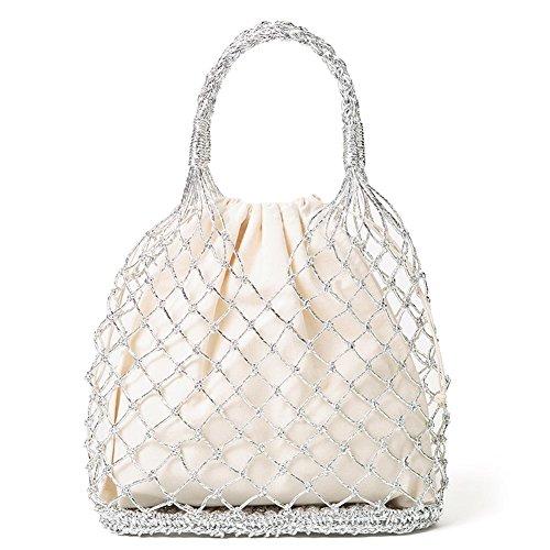 Einfarbige Cannetille Hand Häkeln Woven Handmade Bag Ausschnitt Mesh Tasche Gefüttert Stroh Geflochtene Strandtasche -