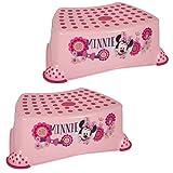 Disney Marchepied portable pour bébés et petits enfants en plastique solide, rose ou blanc, 14 cm, capacité de 90kg, surface et pied en caoutchouc antidérapant pour apprendre à aller au petit pot