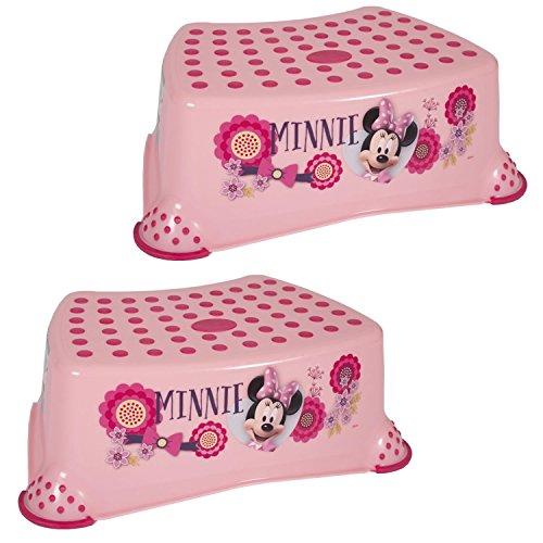 Disney Baby infantil y de niño paso taburetes 14cm/5.5'rosa o blanco fuerte plástico 90kg/Capacidad de fuerza superficie de goma antideslizante/antideslizante, seguridad y pies para inodoro/orinal formación portátil rosa rosa Talla:TWO PACK Minnie - Pink