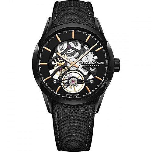 Raymond Weil orologio automatico scheletro, PVD, 42mm, nero, 10atm