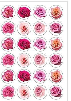 Assortiment de 24roses en papier comestible pour décoration de gâteau