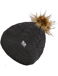 Gwinner Strickmütze mit Pompon Bommelmütze mit Merinowolle R9, schwarz