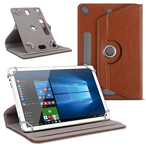 Schutzhülle für Ihr 10 - 10.1 Zoll Tablet Tasche hochwertiges Kunstleder Hülle praktische Standfunktion 360° Drehbar Schutztasche Universal Case , Farben:Braun, Tablet Modell für:Dell Venue 10 Pro