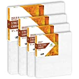 HomeStrap 8 Oz Primed Cotton Pre Stretched Canvas with Wooden Frame - Multi Size - Set of 4