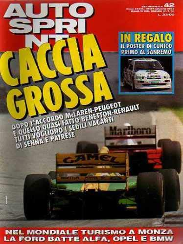 Autosprint Auto Sprint 42 Ottobre 1993 Senna Patrese, BMW 325 Tds