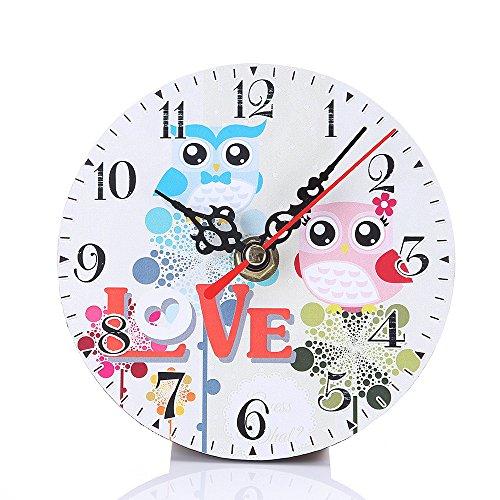 Schlafzimmer Antik Stil Uhr (Sky ♥ ♥ Stil der Dorf no-tictac Stummschaltung Antik Wanduhr aus Holz für das Büro von Hausmannskost rund Holz Optik Wanduhr des kleinen Eule Uhren Schlafzimmer, C)