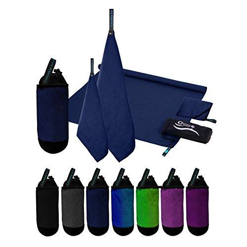 2er Set Reisehandtuch dunkelblau Microfaser Handtuch 70x140 cm + 30x50cm Sport-Handtuch saugfähig Badehandtuch (Dunkelblau)