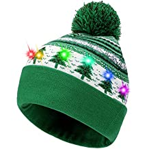Hifot Sombrero LED Light Up Sombrero Beanie Gorro Brillante y Colorido  Navidad Beanie Cap Gorro de 834148ef83e