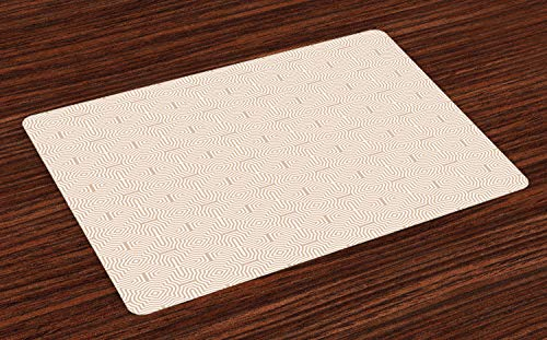 ABAKUHAUS Tan und Weiß Platzmatten, Abstraktes Maze-ähnliches Muster mit dekorativen gebogenen Linien und Rauten, Tiscjdeco aus Farbfesten Stoff für das Esszimmer und Küch, Weiß und Tan