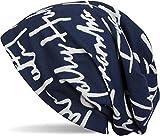 styleBREAKER Gorro tipo beanie con patrón de símbolos estampado completo, beanie largo encorvado, Unisex 04024075, color:Azul oscuro