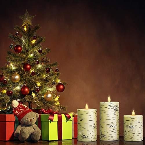 vijtian romantische flammenlose LED-Birkenrinde, elektronisch, Fernbedienung, 3 Stück, ideal für Weihnachten, Halloween, Beleuchtung in Restaurants oder Bars -