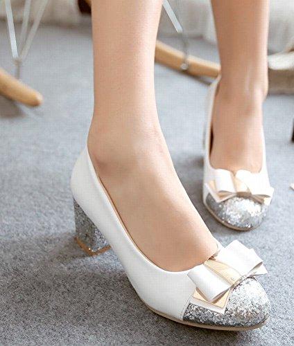 Mee Shoes Damen modern süß runder toe dicker Absatz Pailletten mit Schleife Mischfarbe Pumps Weiß
