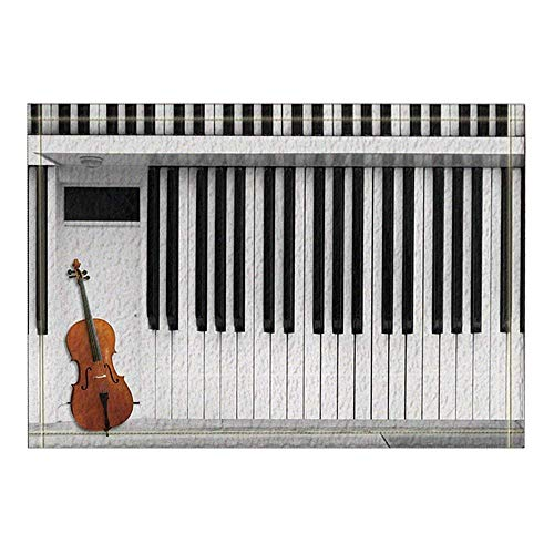 Aliyz Badteppich mit Musikinstrumenten, Gitarre auf Klavier, Rutschfeste Fußmatte für den Innen- und Außenbereich, Türvorlage, 39,9 x 59,9 cm, Badezimmerzubehör