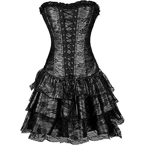 Europa y Royal corsé vestido superior Ms t pantalones tres piezas encaje blusa corsé , black , l