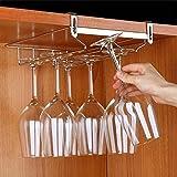 Sheny gläserhalter Wandhängeregal für Gläser Weingläser Rack, Halterung für Stielgläser 2 Reihen Stemware Halter 304 Edelstahl(Silber)