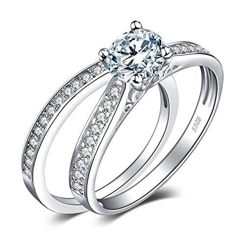 JewelryPalace 1.3ct Zirkonia Jubiläum Hochzeitsband Solitär Verlobungsring Braut Sets 925 Sterling Silber