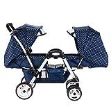 Poussette jumelle pour bébé, 2 caravanes pour bébé, S'allonger, légère et...