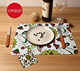 TIED RIBBONS Set of 6 PVC DiningTable Mats with Coasters (Multicolour, 42 cmx28 cm)
