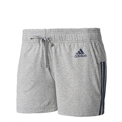 adidas Damen Essentials 3-Streifen Shorts, Medium Grey Heather/Collegiate Navy, XL