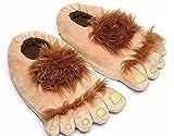 Zapatillas de estar por casa ,Bigfoot divertida peludo aventura barbárica Hobbit zapatillas invierno caliente cálida cubierta zapatillas de tamaño libre de felpa (talla única para la mayoría de los adultos) , 35-40