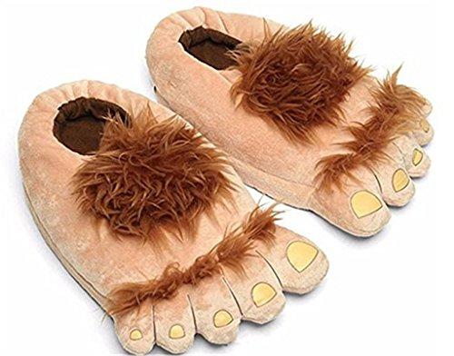 Pantoffeln?Bigfoot Lustige Pelz Adventure Barbaric Hobbit Hausschuhe Winter Warm Indoor Fluffy Pantoffeln Free Size Plüsch (Eine Größe passt für die meisten Erwachsenen) , (Waffel Kostüm)