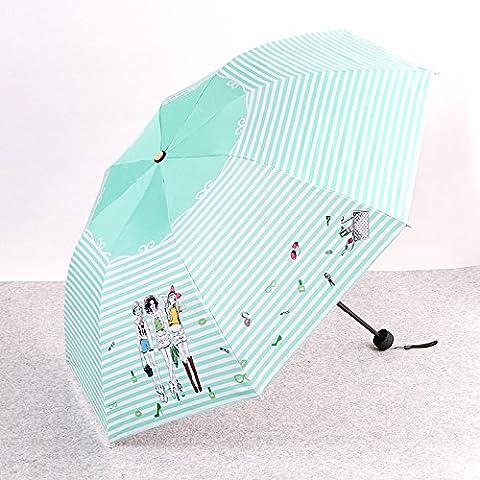 ZRLsly Ein Regenschirm Mit Drei Regenschirm Mint Green (Gestreiften Mädchen Medium Schwarzen Leim)