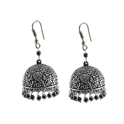 Silvestoo India Exotic Elegance Hematite Jhumki Earrings-Banjara Rajasthani Jewelry For Women & Girls PG-105894