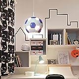 Fußballleuchte Fußball Lampe blau-weiß fürs Kinderzimmer Jungen & Mädchen Hängelampe Pendelleuchte