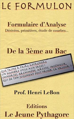 Livre Le Formulon d'Analyse (Les Formulaires du prof. LeBon t. 2) epub pdf