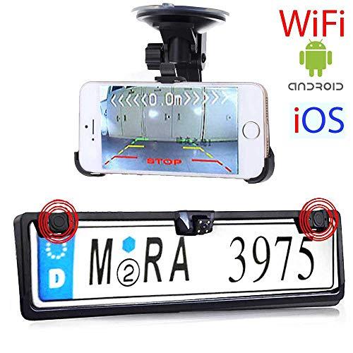 RFK-72 Nummernschild WiFi Rückfahrkamera für PKW Auto, Wohnmobil und Transporter - Bis zu 5 Jahre Garantie, Kompatibel mit Android, iOS, Handy & Tablet - Rear View Camera Bmw Tv Modul
