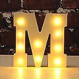 LEDMOMO luces decorativas led letras diseño de alfabeto de madera blanco letras - M