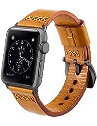 Apple Watch Series 3 Correa 42mm,iBazal iWatch Correa de Reloj Genuino Banda de Cuero de Piel para 42mm Apple Watch Series 3/ Series 2/ Series 1 - Marrón único