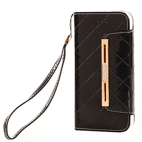 Phone case & Hülle Für iPhone 6 Plus / 6S Plus, Wallet Style Diamond verkrustete Ledertasche mit Lanyard & Card Slots & Geld Tasche ( Color : White ) Black