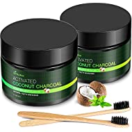 MayBeau Teeth Whitening Powder, 2 x 60g Natural Activated Charcoal Powder Mint Flavor, Coconut Charcoal Teeth Whitener with Toothbrush for Removing Stains (Black)