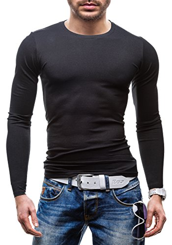 BOLF - T-shirt con maniche lunghe �?GLO STORY 5970 �?Uomo Nero