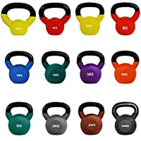 JLL Kettlebells with Coloured Neoprene (Rubber) Covered Cast Iron Ranging From 2kg to 24kg Home Gym Fitness Exercise Kettlebell workout training 2kg, 4kg, 6kg, 8kg, 10kg, 12kg, 14kg, 16kg, 18kg, 20kg, 22kg, 24kg