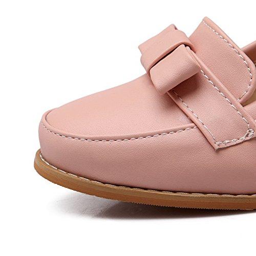 AllhqFashion Damen Pu Leder Rein Ziehen Auf Rund Zehe Pumps Schuhe Pink