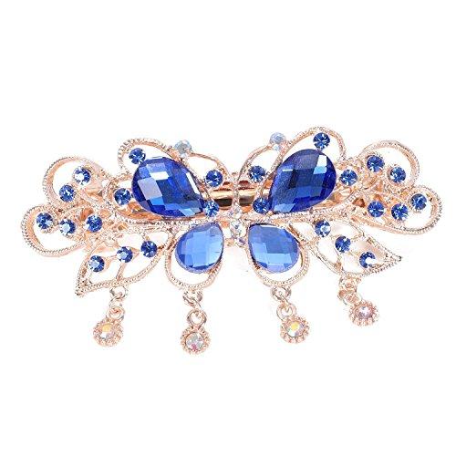 TOOGOO Barrette exquise a cheveux en strass de forme de papillon a glands des femmes Accessoire de pince a cheveux (Bleu)