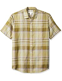 Amazon Essentials Men's Regular-fit Short-Sleeve Stripe Linen Shirt
