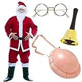 KIT Costume completo Babbo Natale + CAMPANELLA + PANCIA + OCCHIALI vestito per adulti COMPLETO (Kit Completo: Costume + Pancia + Occhiali + Campanella)