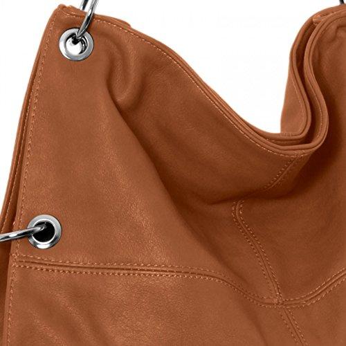 CASPAR TS561 Damen Multifunktions Schultertasche / Umhängetasche Cognac