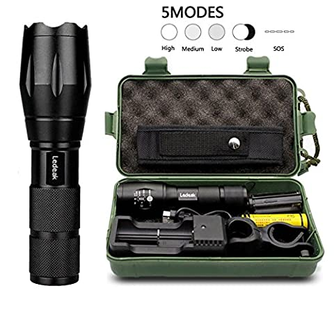 T6 Upgrade L2 LED Flashlight,Ledeak CREE 1200 Lumens LED Torch,5 Modes Zoomable Waterproof Tactical Flashlight with USB Charger,18650 Rechargeable Battery,Cycling Handlebar Mount, Flashlight