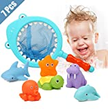 Lehoo Castle Badespielzeug Baby ab 1 jahr, Badewanne Spielzeug Kinder, Badespielzeug mit Fischernetz , 7pcs Ozean Tier Wasserspielzeug kinder